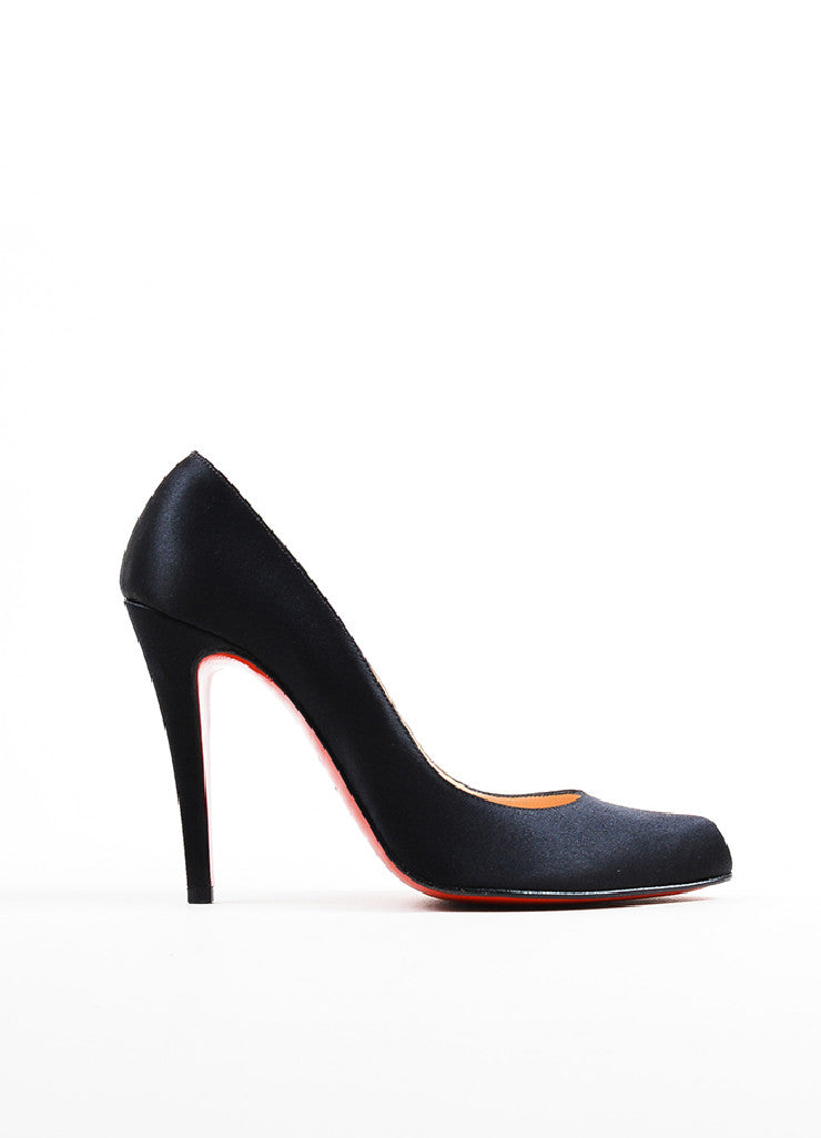 "Christian Louboutin Black Satin Almond Toe ""Decollete"" Pumps Sideview"