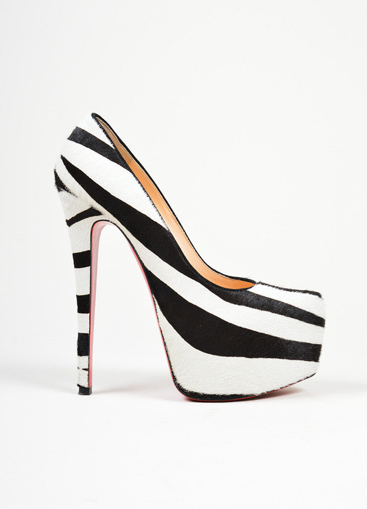 "Black and White Christian Louboutin Pony Hair Zebra Print ""Daffodile 160"" Pumps  Sideview"
