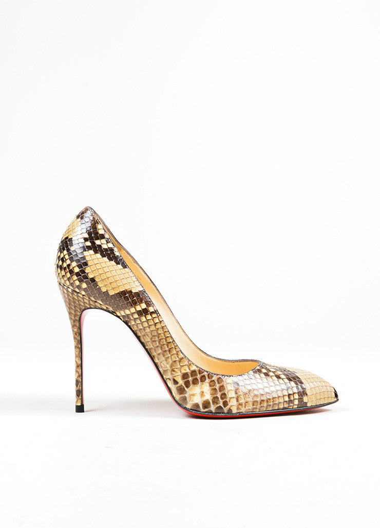 "Brown and Cream Christian Louboutin Snakeskin Leather ""Decollete"" Pumps Sideview"
