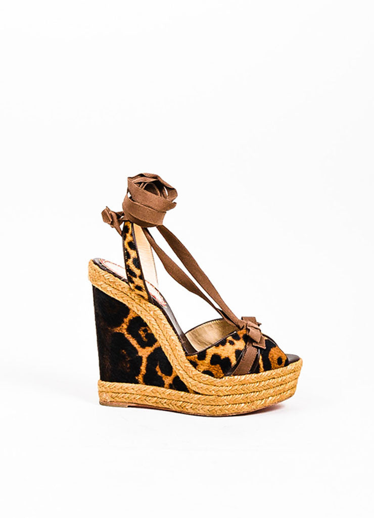 "Brown Christian Louboutin Leopard Ponyhair ""Isabelle"" Espadrille Wedges Sideview"