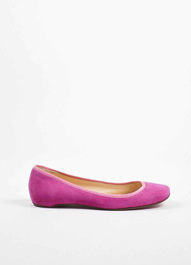 •ÈÀChristian Louboutin Fuchsia Pink Suede Grosgrain Trim Square Toe Flats Sideview
