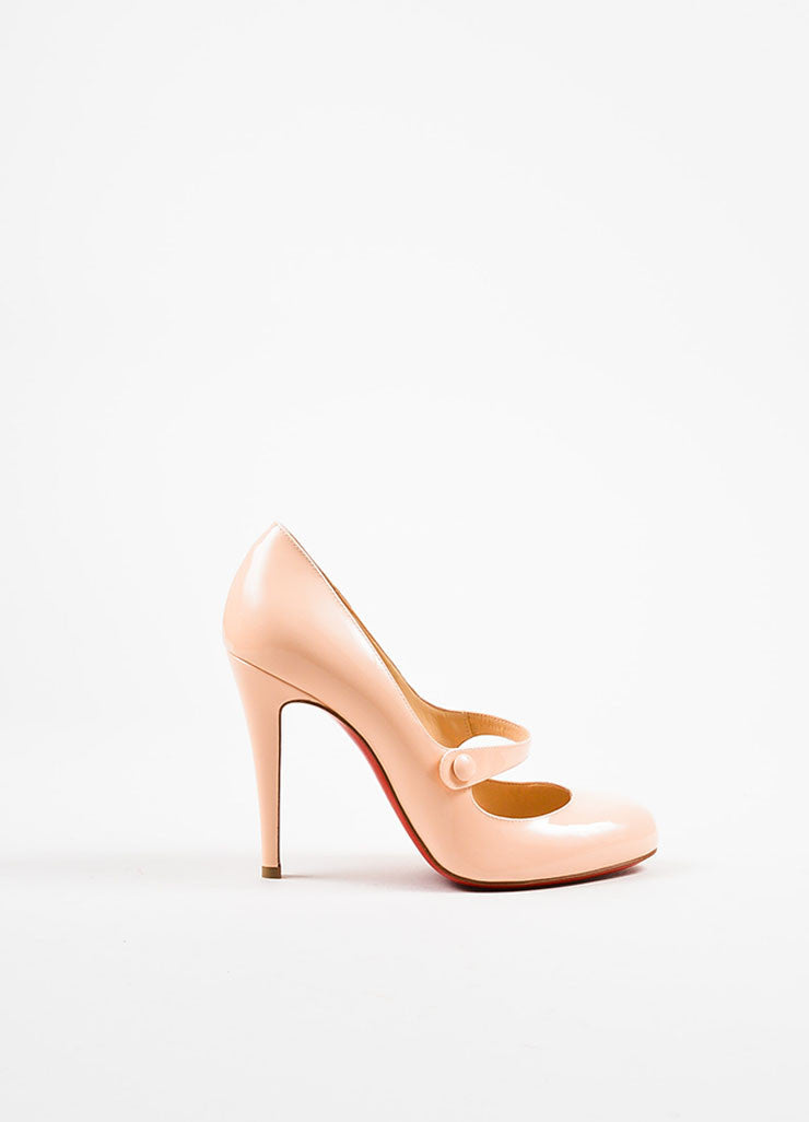 "Christian Louboutin Blush Pink Patent Leather ""Charleen 100"" Pumps Sideview"