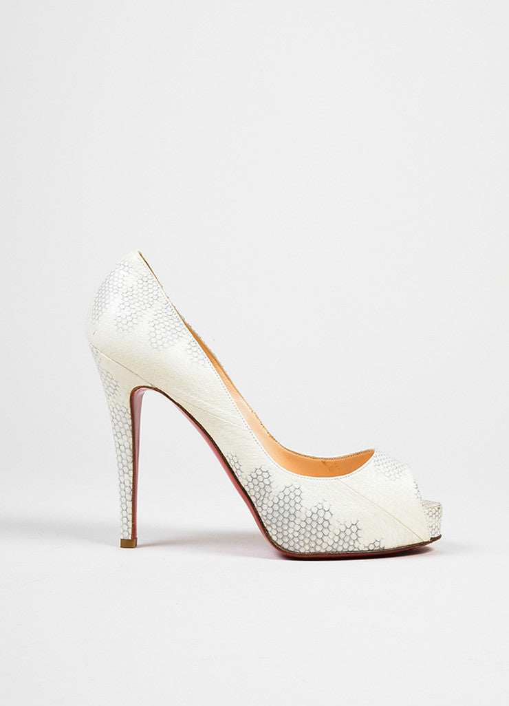 "White and Grey Christian Louboutin Watersnake Leather ""'Very Prive"" Pumps Sideview"