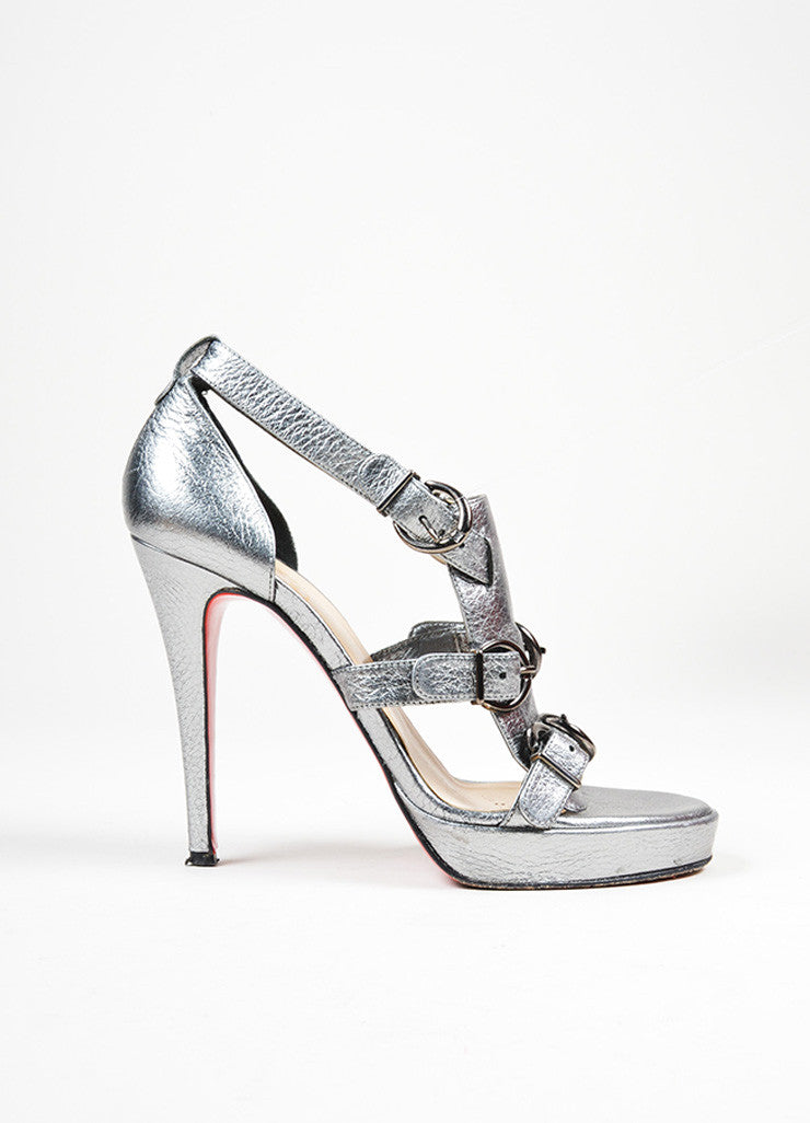 "Silver Metallic Leather Christian Louboutin ""Lima 120"" Buckle Heels Sideview"