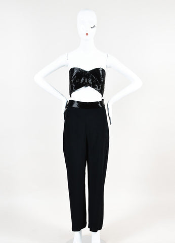 "Cushnie Et Ochs Black Crepe Beaded Cutout Detail ""Liza"" Jumpsuit Frontview"