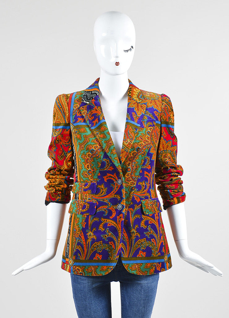 Red, Green, and Purple Dolce & Gabbana Silk and Cotton Velvet Paisley Blazer Frontview 2