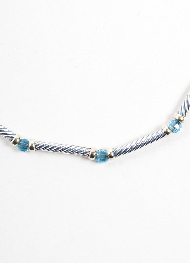 David Yurman Gold Sterling Silver Blue Topaz Cable Choker Necklace Detail