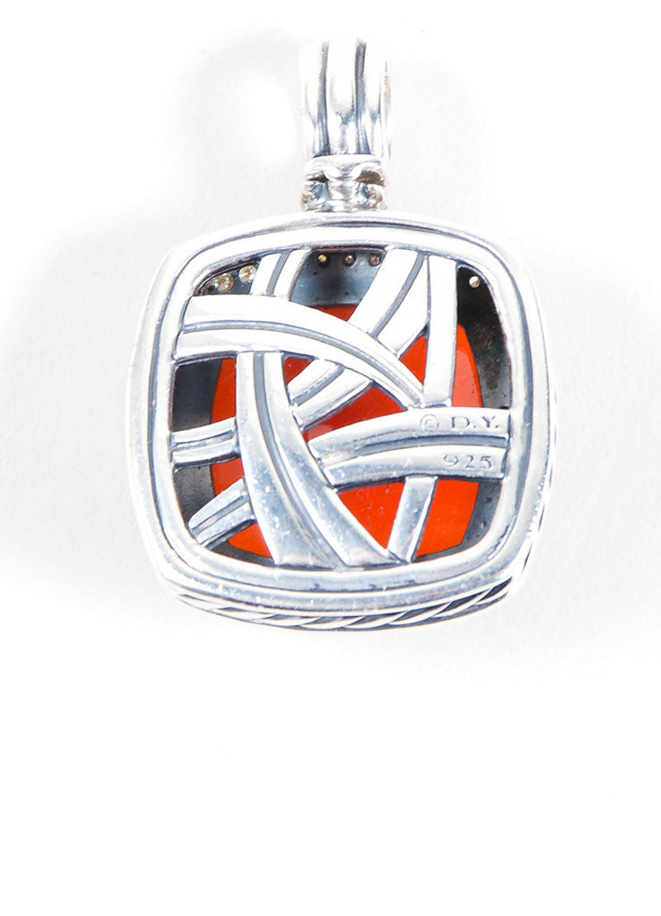 "David Yurman Sterling Silver, Carnelian, and Diamonds ""Albion"" Pendant Backview"