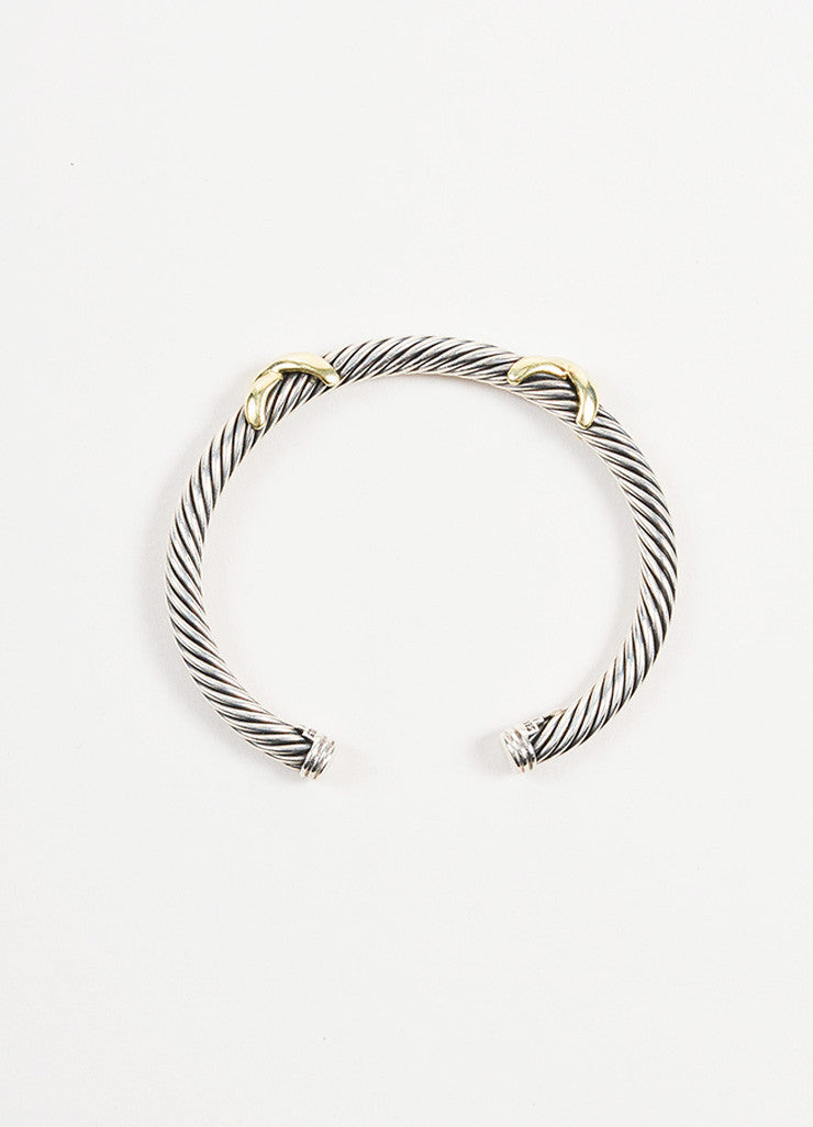 "David Yurman Sterling Silver and 14K Yellow Gold ""Double X"" 5mm Cable Bracelet topview"