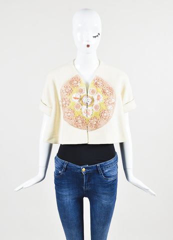 Delpozo Cream Multicolored Hemp Embellished Short Sleeve Cropped Jacket Frontview 2