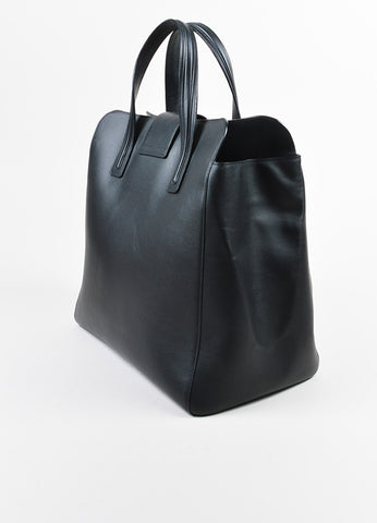 "Black Leather Delvaux  ""Simplissime"" Oversized Tote Bag Sideview"
