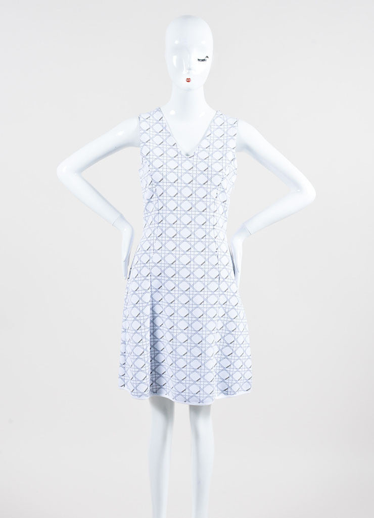 "White and Black Christian Dior Knit ""Cannage"" Print Sleeveless Dress Frontview"