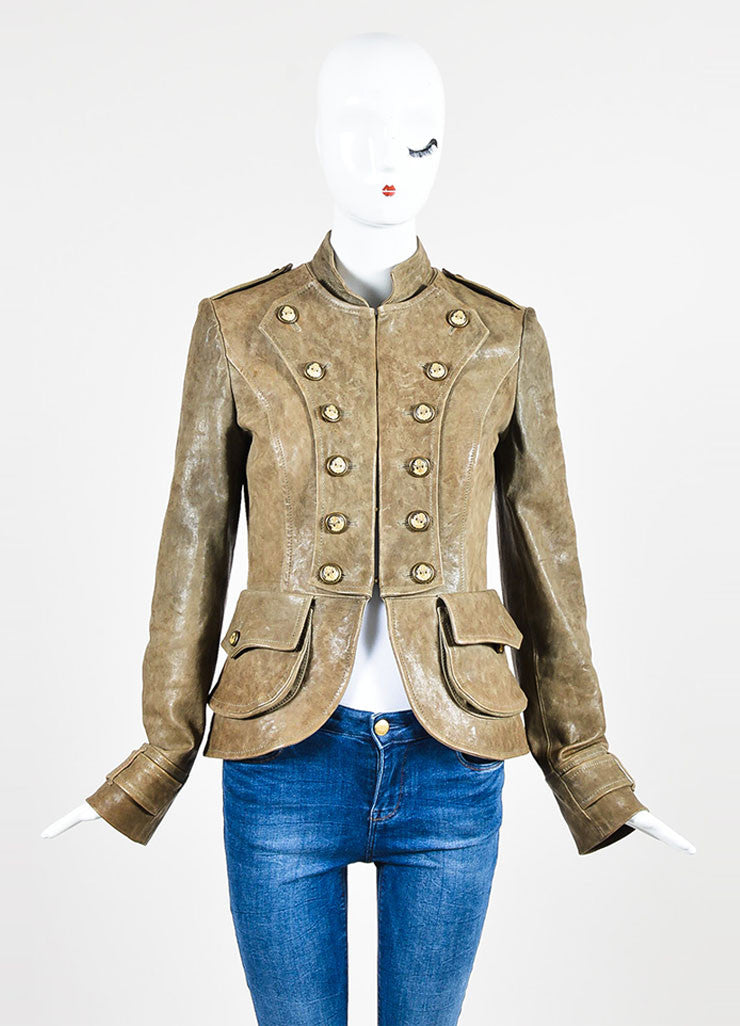 Dolce & Gabbana Taupe Brown Leather Military Double Breasted Jacket Frontview 2