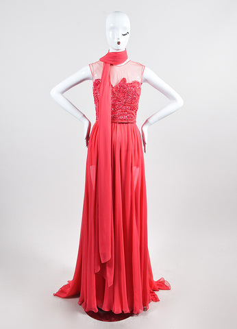 Coral Pink Elie Saab Silk Chiffon Bead Sequin Embellished Gown Frontview