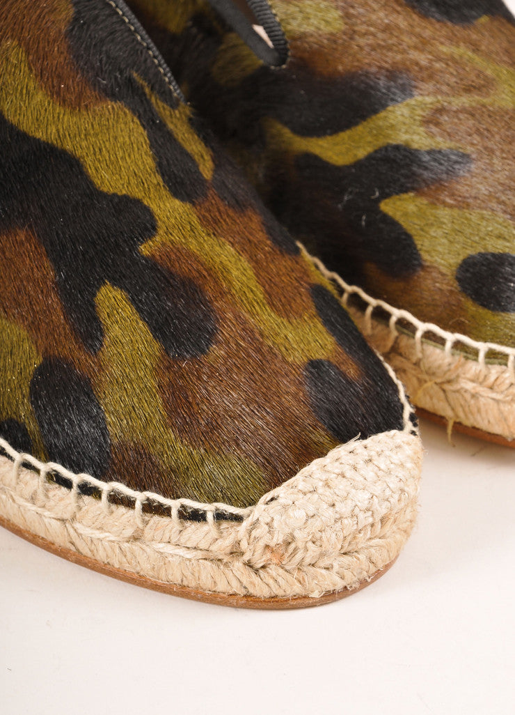 Elyse Walker New In Box Camo Print Pony Hair Espadrille Flats Detail