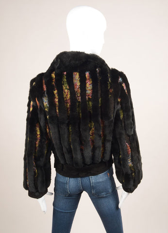 Etro Black and Multicolor Fur Woven Striped Zip Jacket Backview