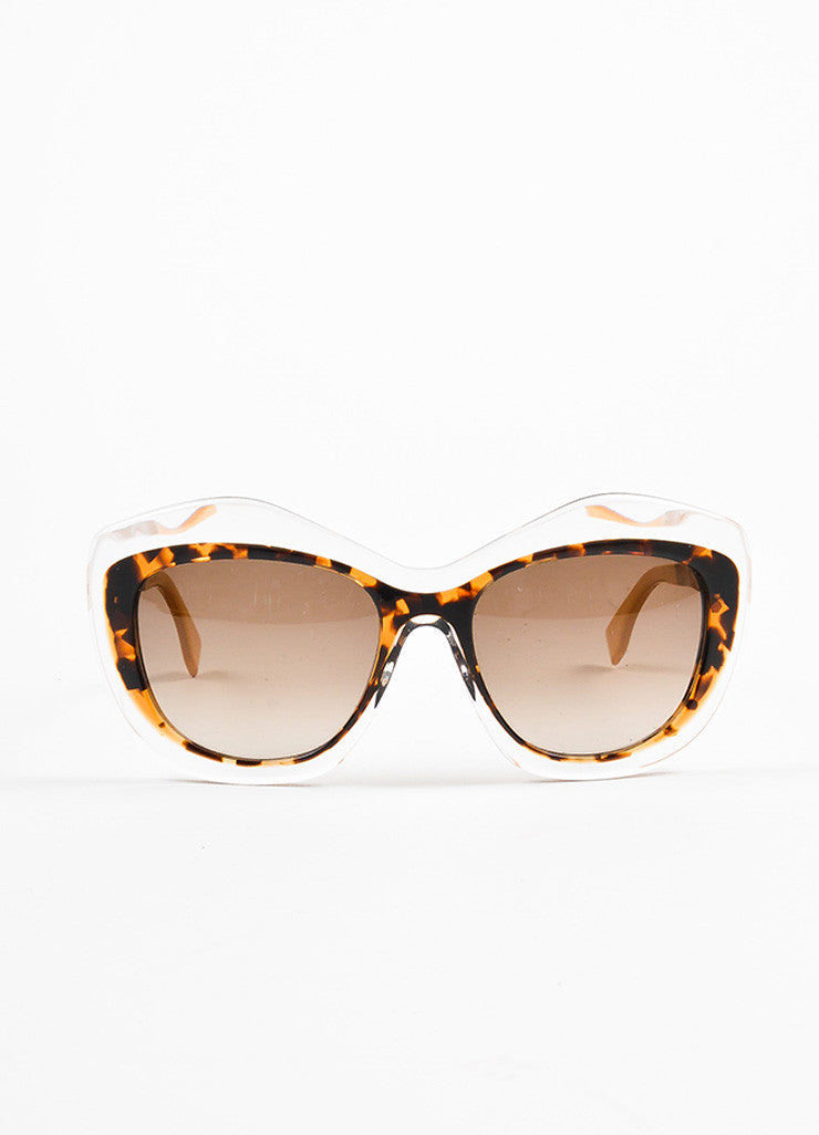 Fendi Brown and Clear Tortoise Shell Oversized 'FF 0029 S' Cat Eye Sunglasses Frontview