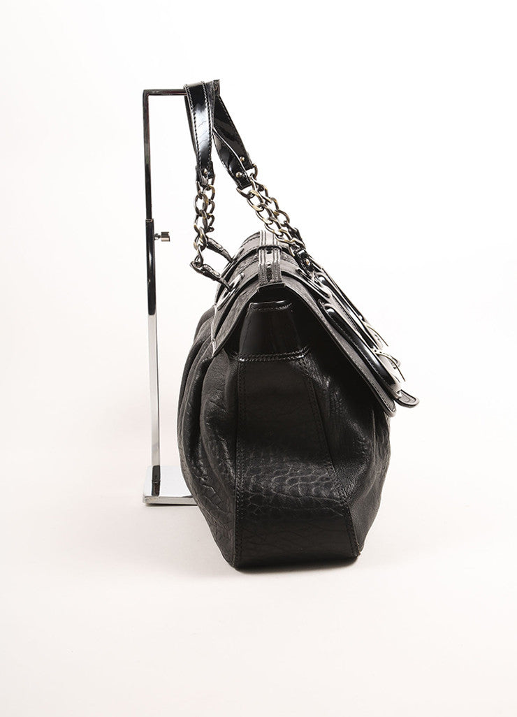 "Fendi Black Textured Leather ""B."" Double Buckle Flap Bag Sideview"