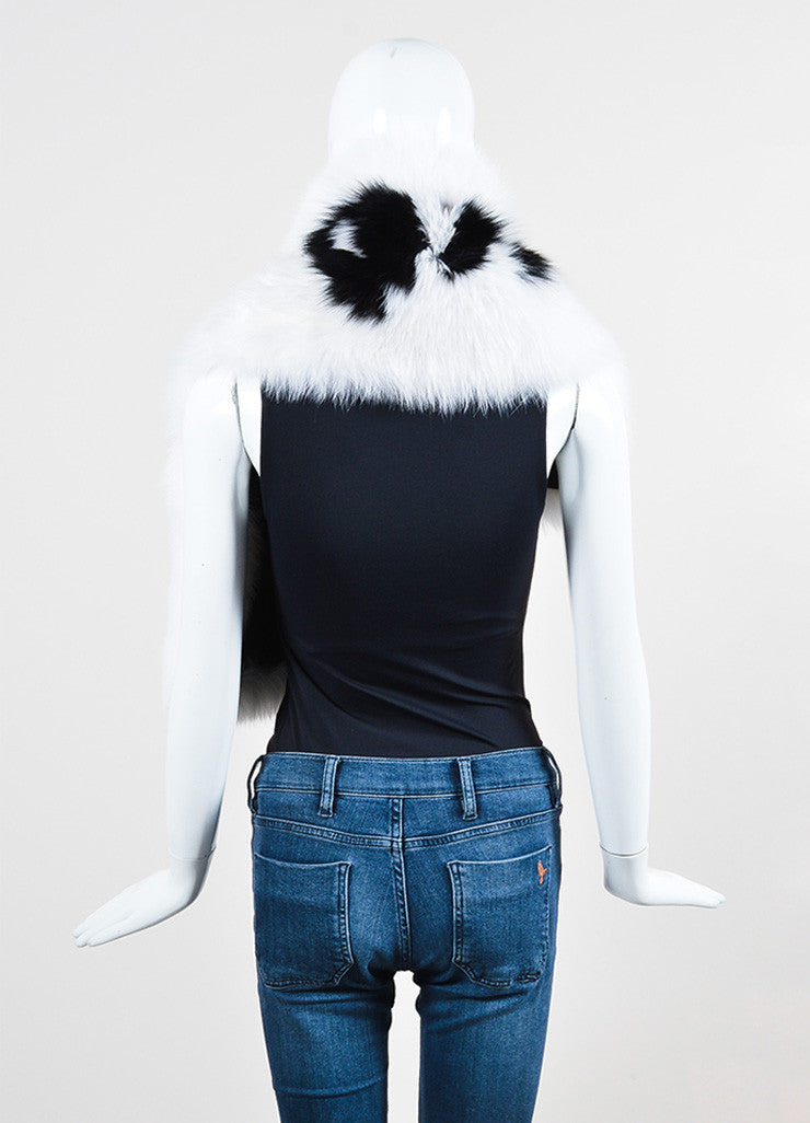 "Fendi Black and White Fox Fur ""Fendi Roma"" Wrap Backview"