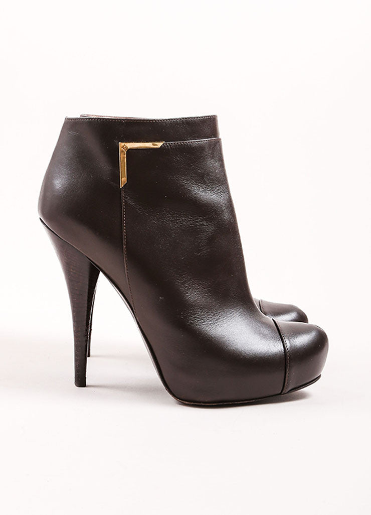 Fendi Dark Brown Leather Hidden Platform Cap Toe Ankle Booties Sideview