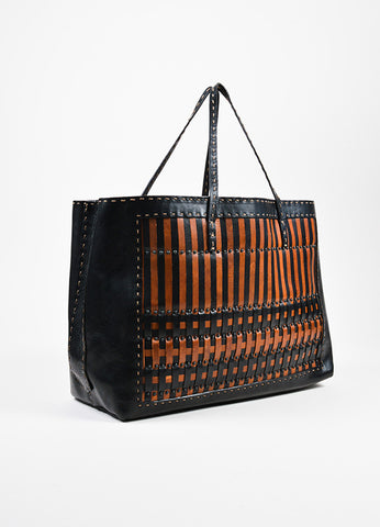 Fendi Selleria Black and Brown Woven Leather Shopper Tote Bag Sideview