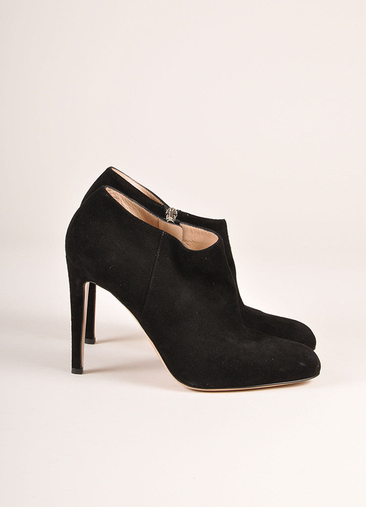 Gianvito Rossi Black Suede Heeled Booties Sideview