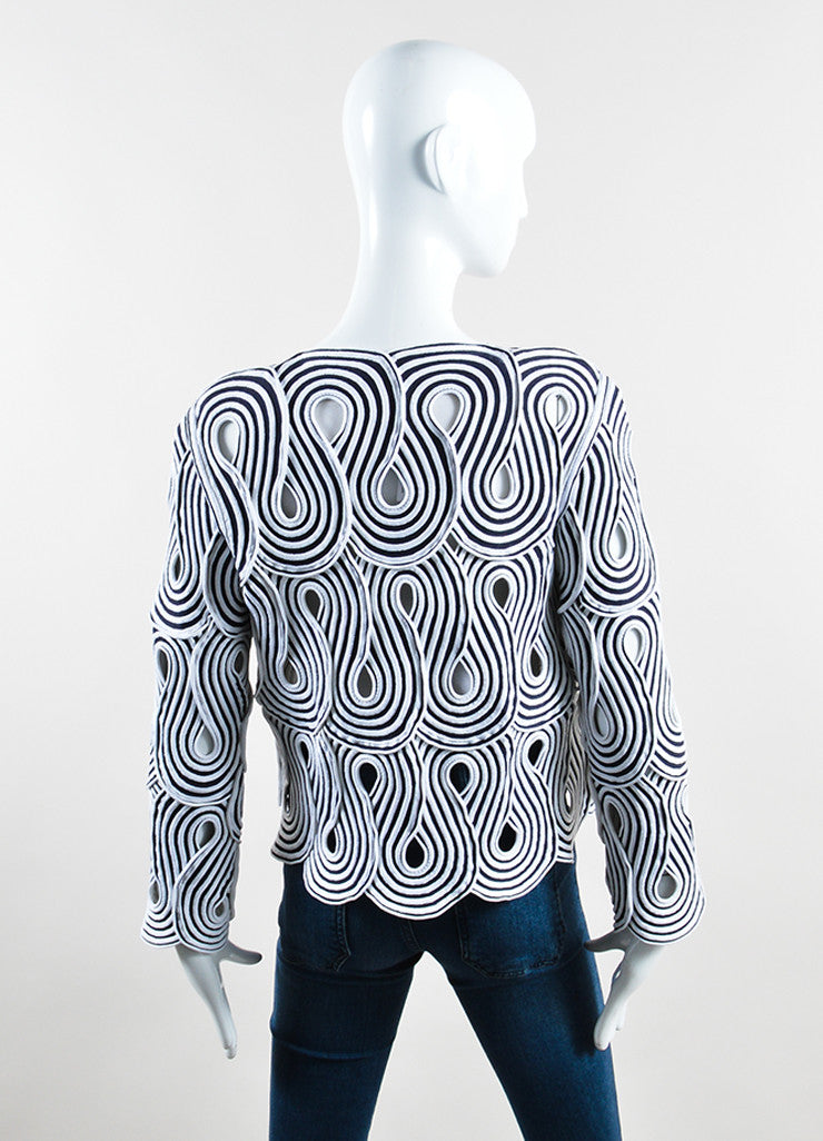 Giorgio Armani Black and White Stretch Knit Loopy Cut Out Jacket Backview