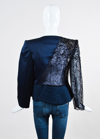 Navy Blue Giorgio Armani Privé Satin and Floral Lace Sequin Embellished Jacket Backview