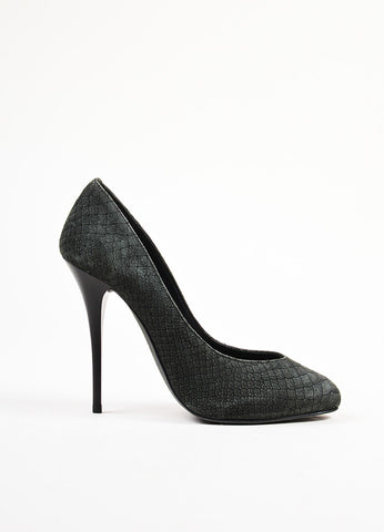 Giuseppe Zanotti Black Snakeskin Embossed Leather High Heel Pumps Sideview