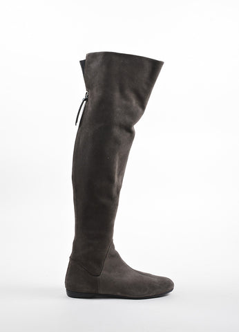 Giuseppe Zanotti Grey and Silver Suede Zippered Over the Knee Boots Sideview