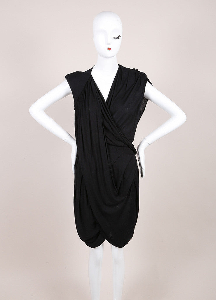 Black Jersey Knit Draped Deep V Neck Wrap Sleeveless Dress