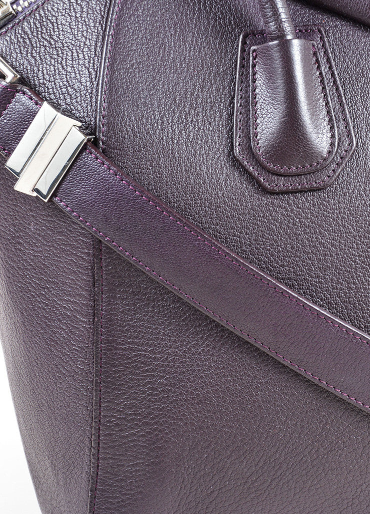 "Givenchy Dark Purple Grained ""Sugar"" Goatskin Leather Medium ""Antigona"" Handbag Detail 2"
