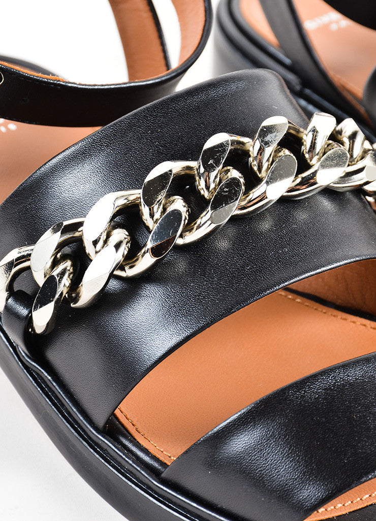 Givenchy Black Leather Silver Tone Chain Link Flat Sandals Detail