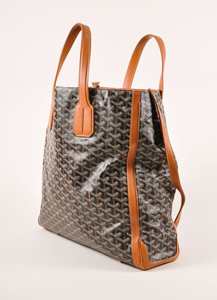 "Goyard Tan, Black, and White Canvas and Leather Chevron Print ""Voltaire"" Tote Bag Sideview"