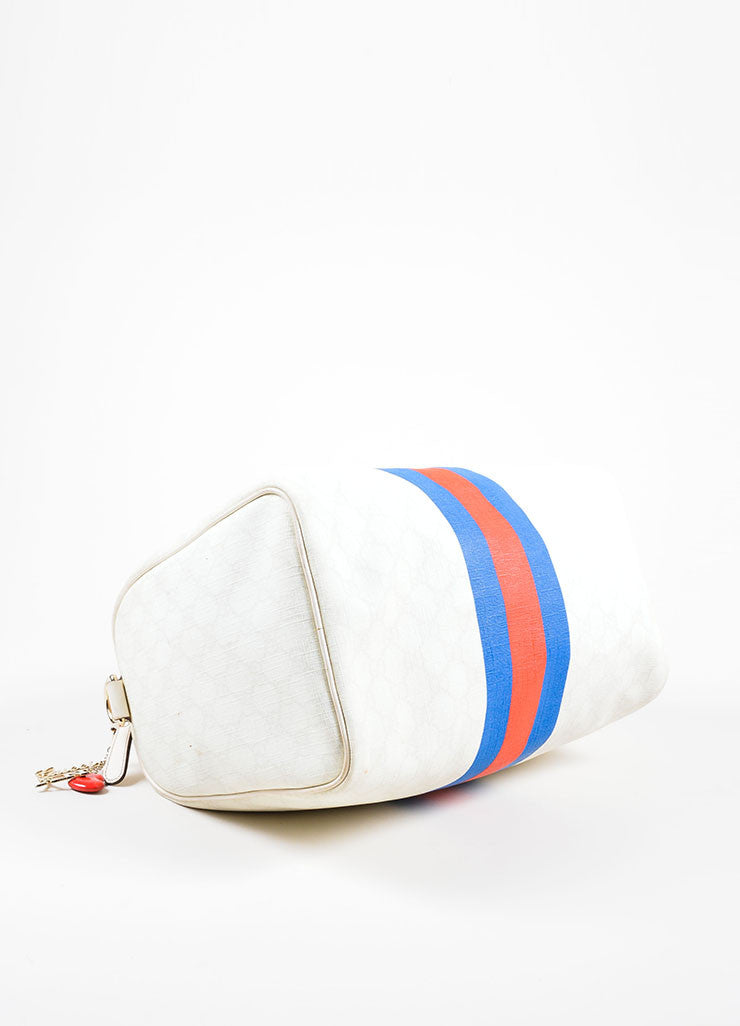"Cream, Blue, and Red Gucci Coated Canvas Monogram Stripe ""Loves NY"" Boston Bag Bottom View"