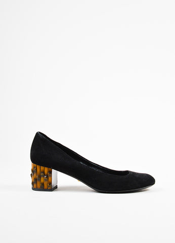 "Black Gucci Suede Leather Bamboo Heel Round Toe ""Dahlia"" Pumps Sideview"