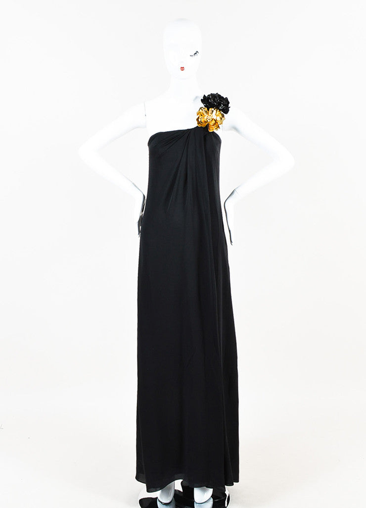 Gucci Black Silk Gold Flower Detail One Shoulder Long Draped Gown Frontview