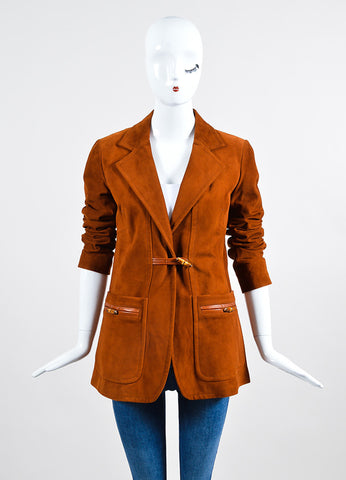 Cognac Brown Gucci Suede Leather Bamboo Toggle Jacket Frontview 2