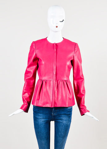 Gucci Hot Pink Leather Collarless Peplum Jacket Frontview 2