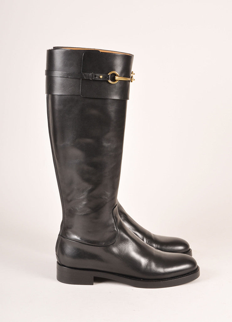 "Gucci New In Box Black Leather and Gold Toned Horse Bit ""Jamie"" Riding Boots Sideview"