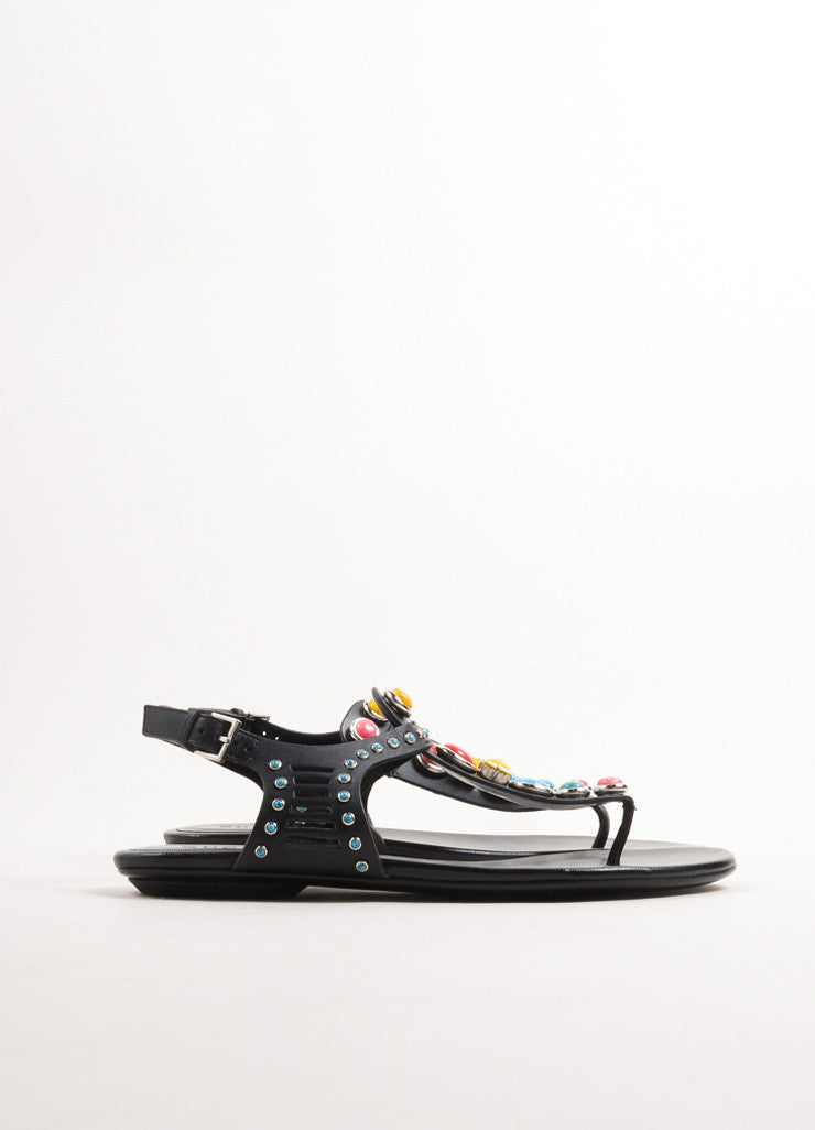 Gucci Black Leather and Multicolor Stones Tribal Thong Sandals Sideview