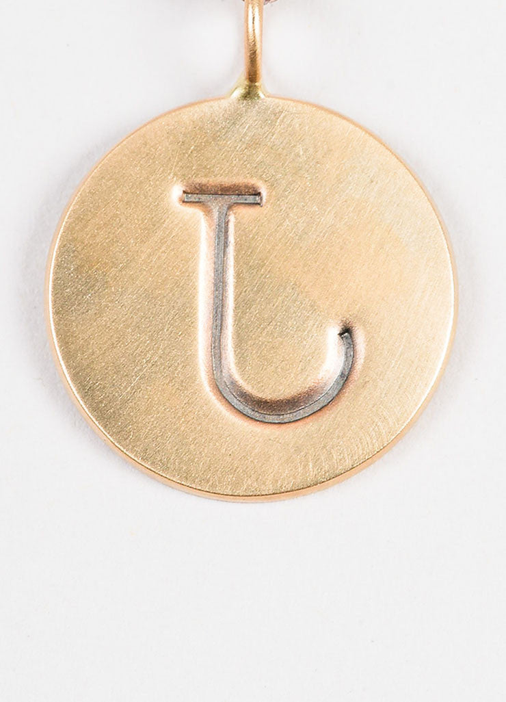 "Heather B. Moore Antiqued 14K Gold ""J"" Initial Disc Charm Pendant Backview"