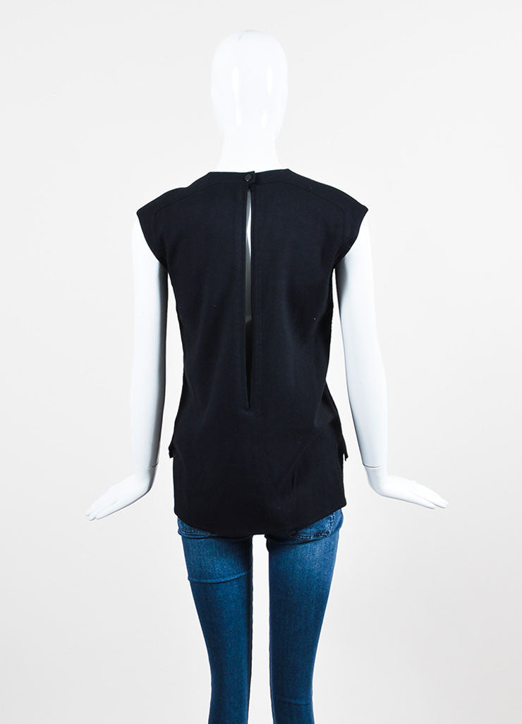 Helmut Lang Navy and Black Pony Hair and Wool Slit Back Sleeveless Top Backview
