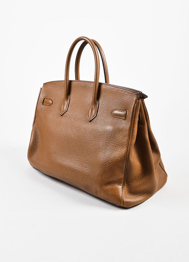 "Hermes ""Alezan"" Brown Clemence Leather Silver Toned Hardware 35 cm ""Birkin"" Bag Sideview"