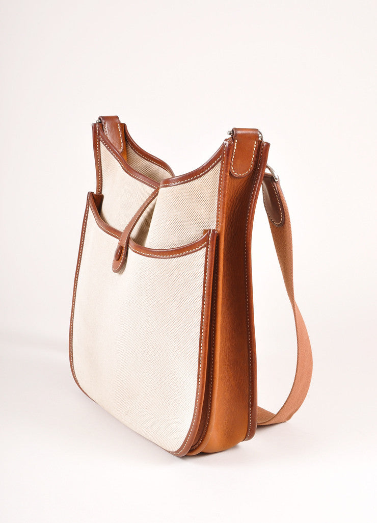 "Hermes Brown and Cream Leather and Canvas ""Evelyne PM"" Crossbody Shoulder Bag Sideview"