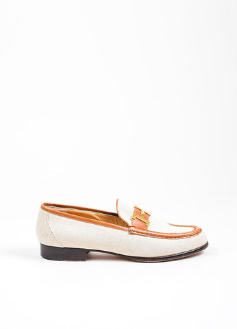 Cream and Brown Hermes Woven Canvas Leather Trim Checkered 'H' Loafers Sideview