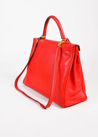 "Hermes ""Geranium"" Red Epsom Leather GHW ""Kelly"" 35 cm Bag Sideview"