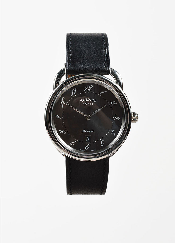 "Hermes Stainless Steel and Black Leather ""Arceau TGM"" Automatic Watch Frontview"