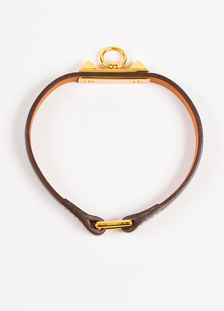 "Hermes Taupe and Gold Toned Leather ""Micro Rivale"" Bracelet Topview"
