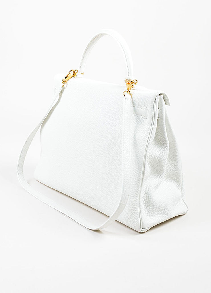 "Hermes Blanc White Clemence Leather Gold Toned Hardware ""Kelly"" 35cm Bag Sideview"